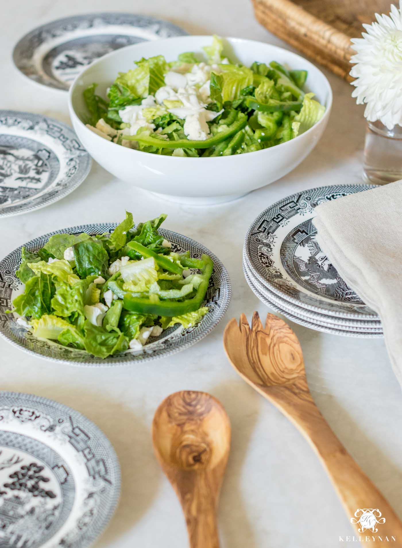 Black and White Willow Salad Plates