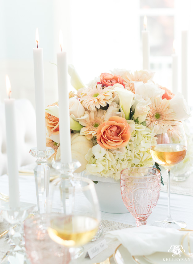 Thanksgiving Centerpiece in elegant blush tones