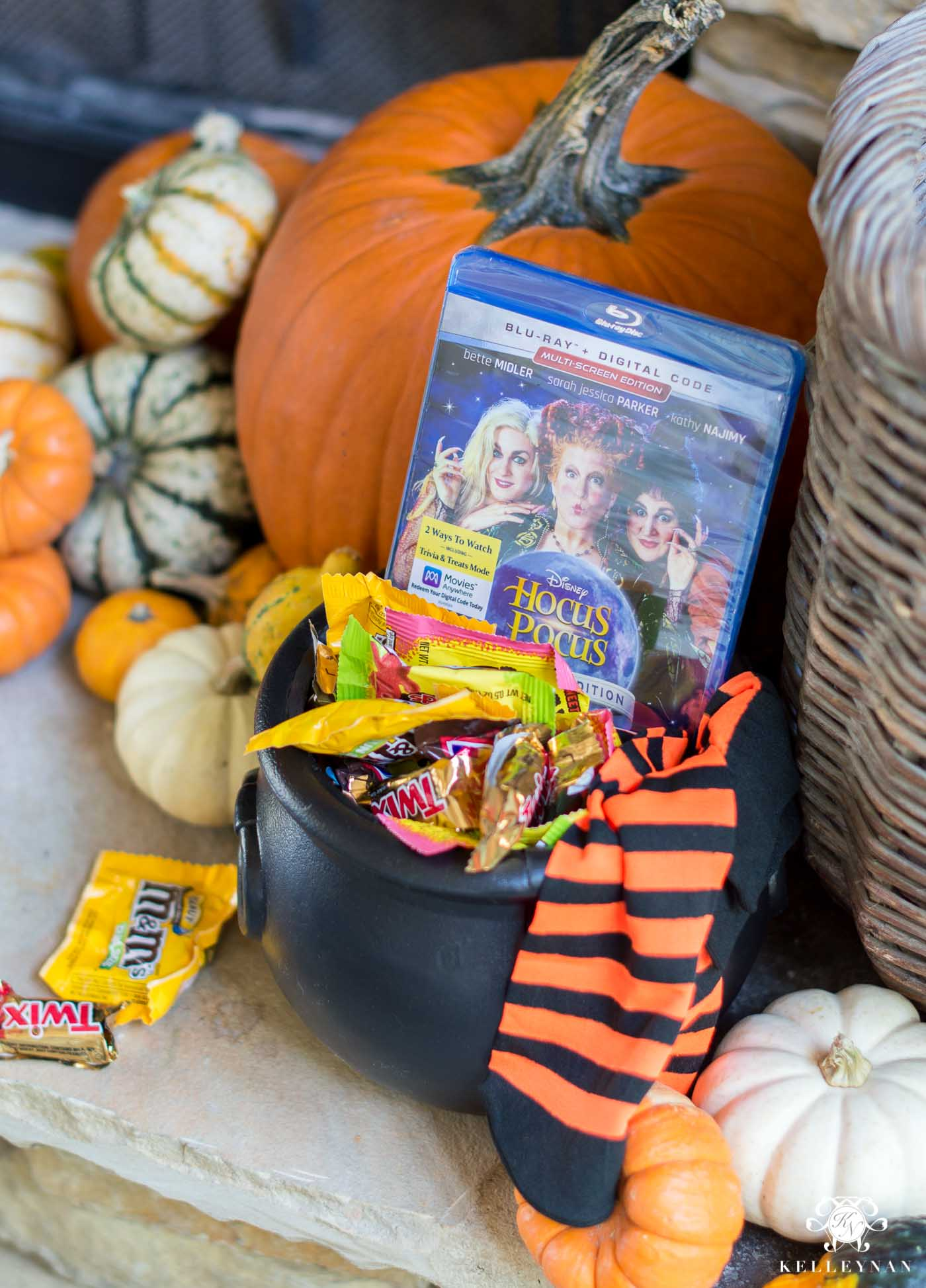 Witches Cauldron with Hocus Pocus, Witches Socks, and Candy,