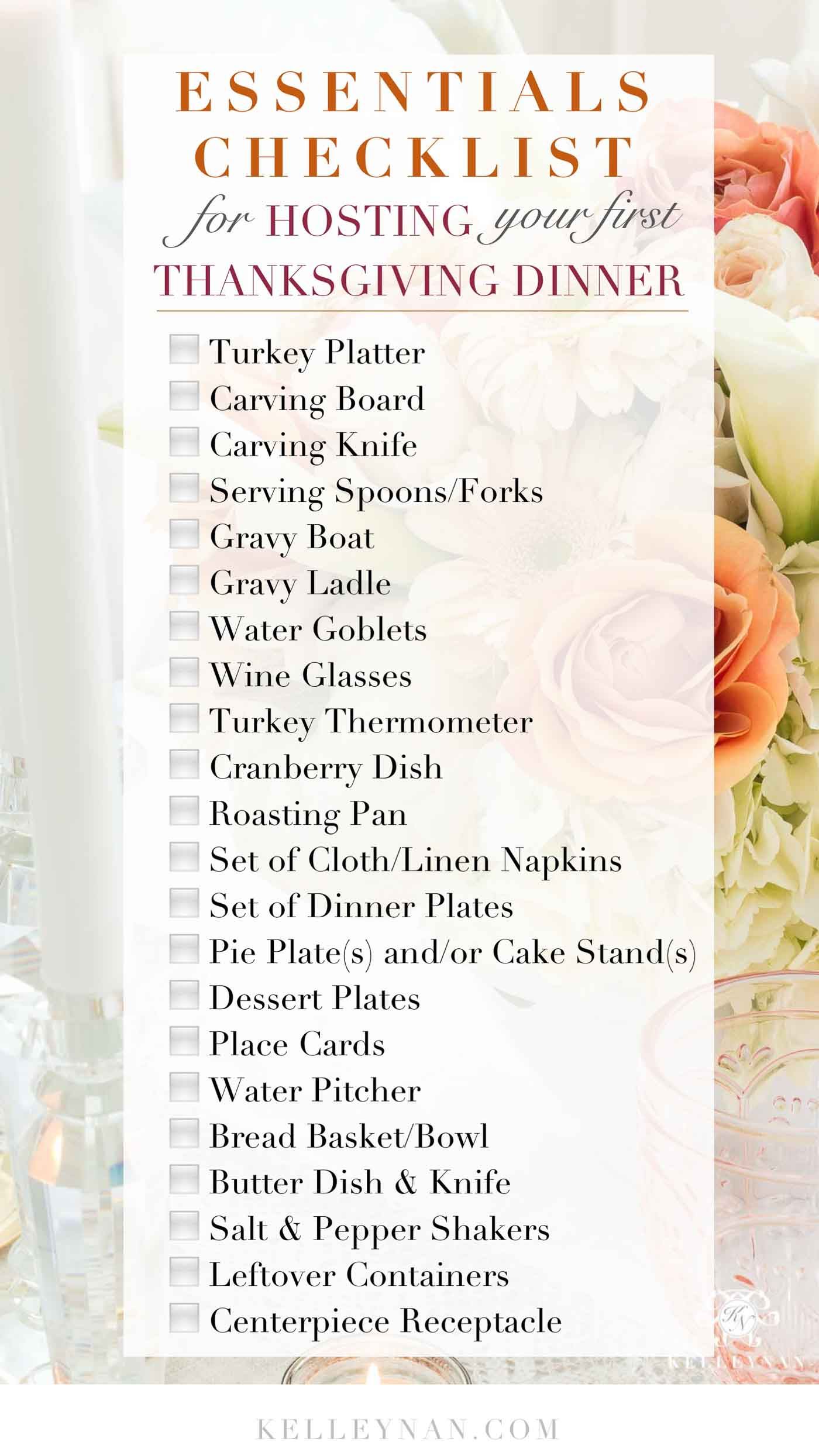 Essentials for Hosting Your First Thanksgiving with Full Checklist