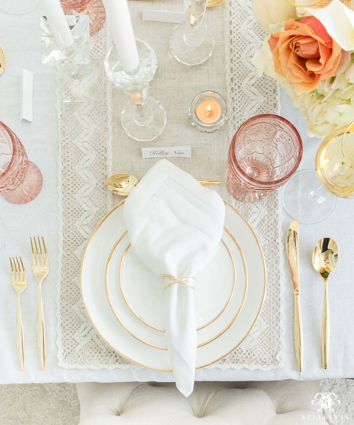 Thanksgiving Dinner Place Setting and Table Decorations