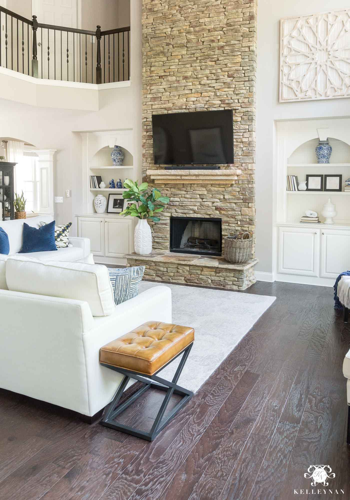 Living Room Layout with TV over the mantel