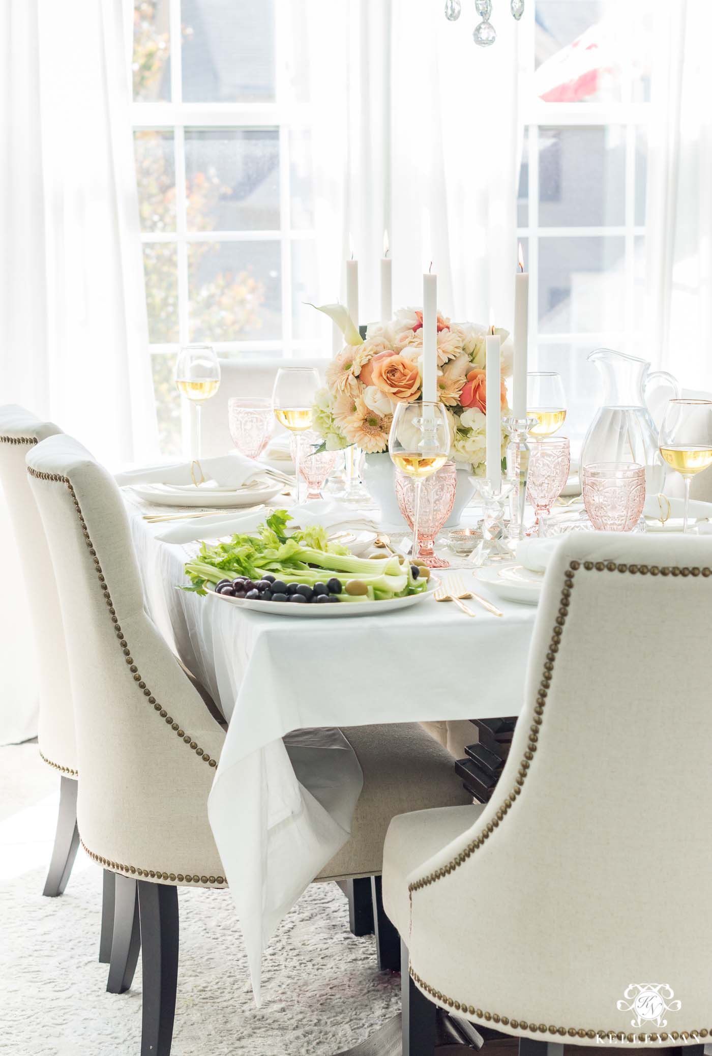 Elegant Thanksgiving Table Decorations in Formal Dining Room