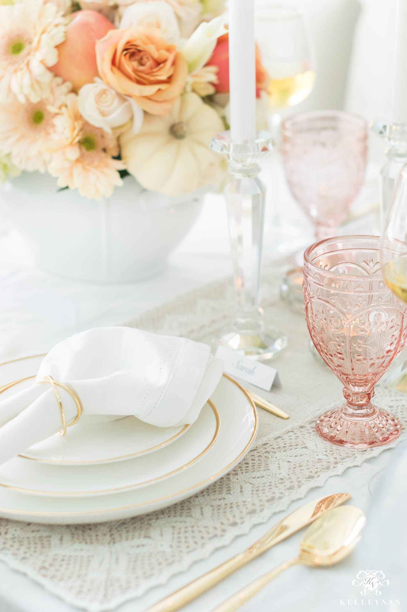 Gold, White, & Pink Thanksgiving Place Settings at Formal Table
