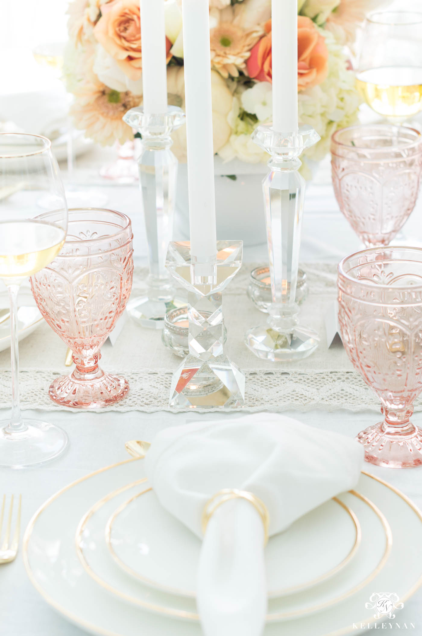Pink, Gold, and Crystal Thanksgiving Table Decorations