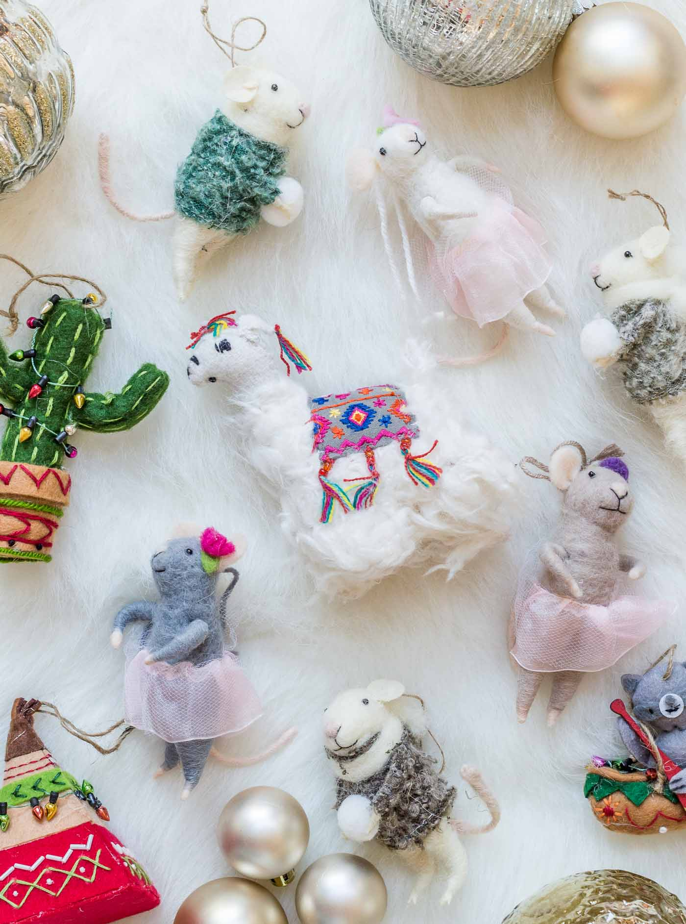 Vintage felt mice ornaments for hostess gifts and children traditions