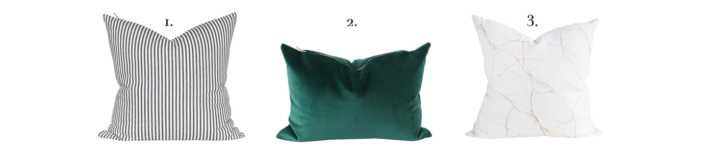Green Black Gold Christmas Pillow Combination