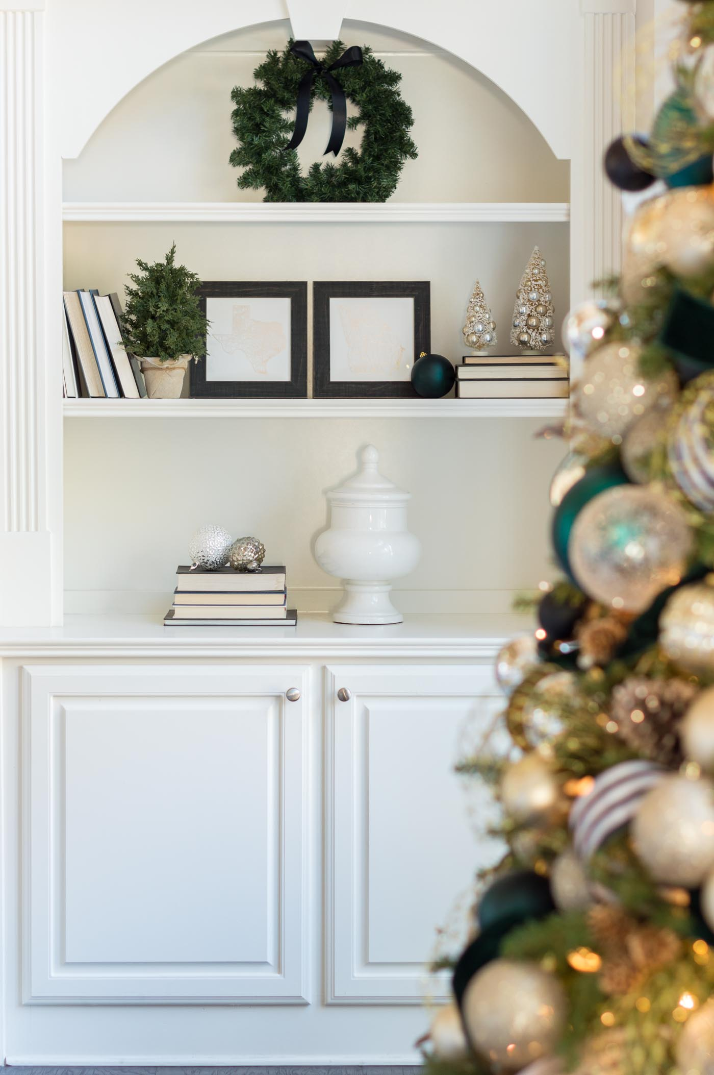 Christmas bookshelf styling