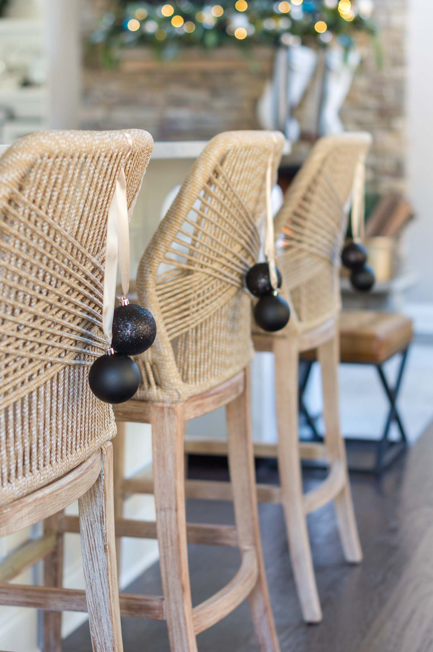 How to style and decorate the backs of bar stools for Christmas