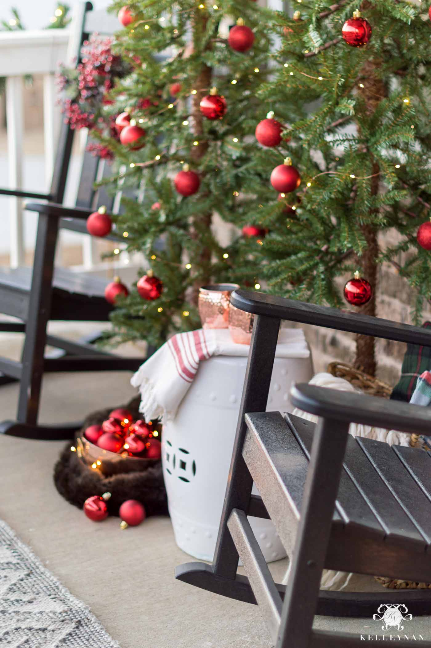 Front porch Christmas trees with ornaments and decorating ideas
