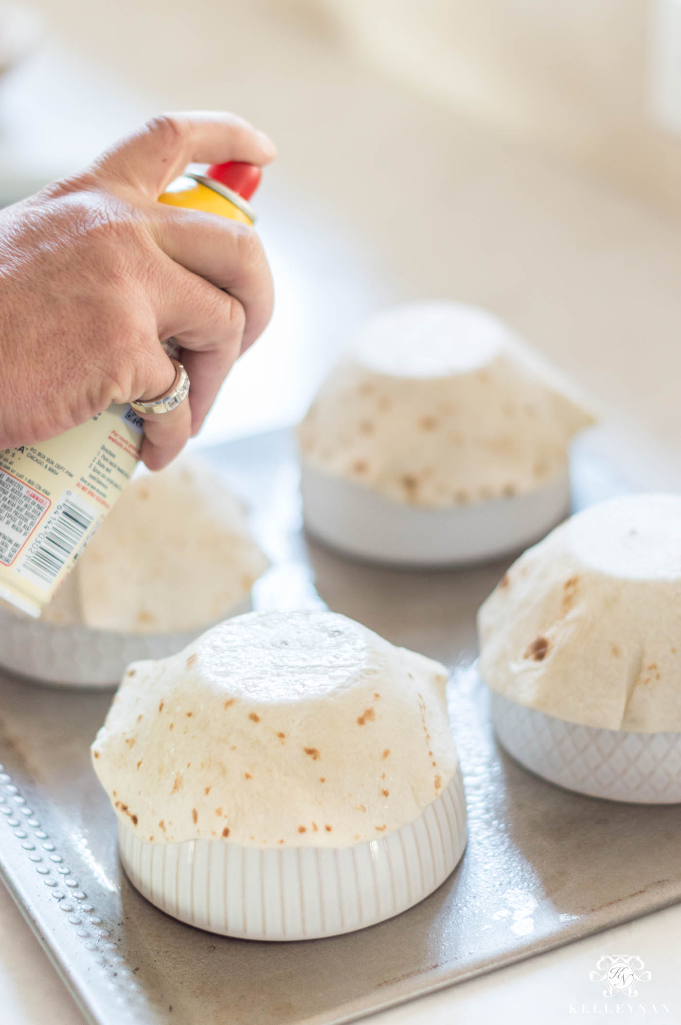 How to bake flour tortillas for taco salad shells