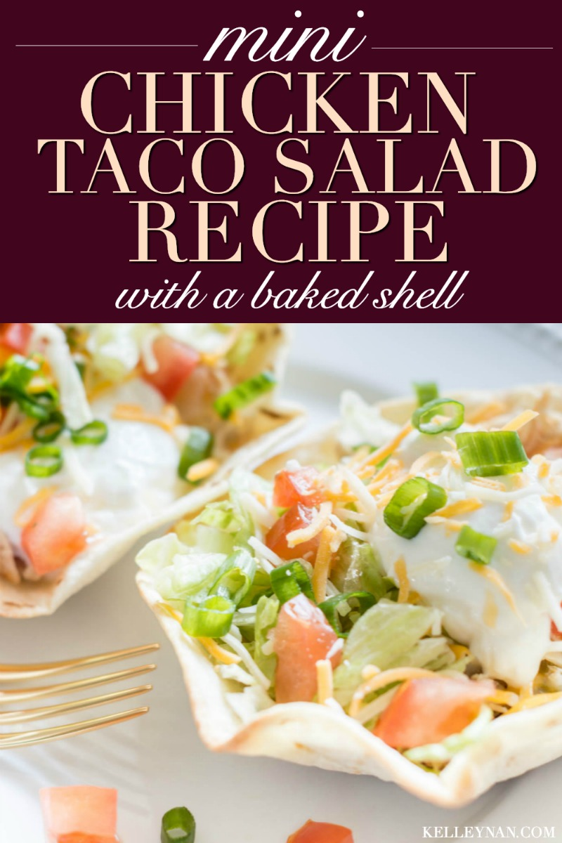 The taco salad recipe your family has to try! Our favorite is with this spicy shredded chicken in mini-shell portions!