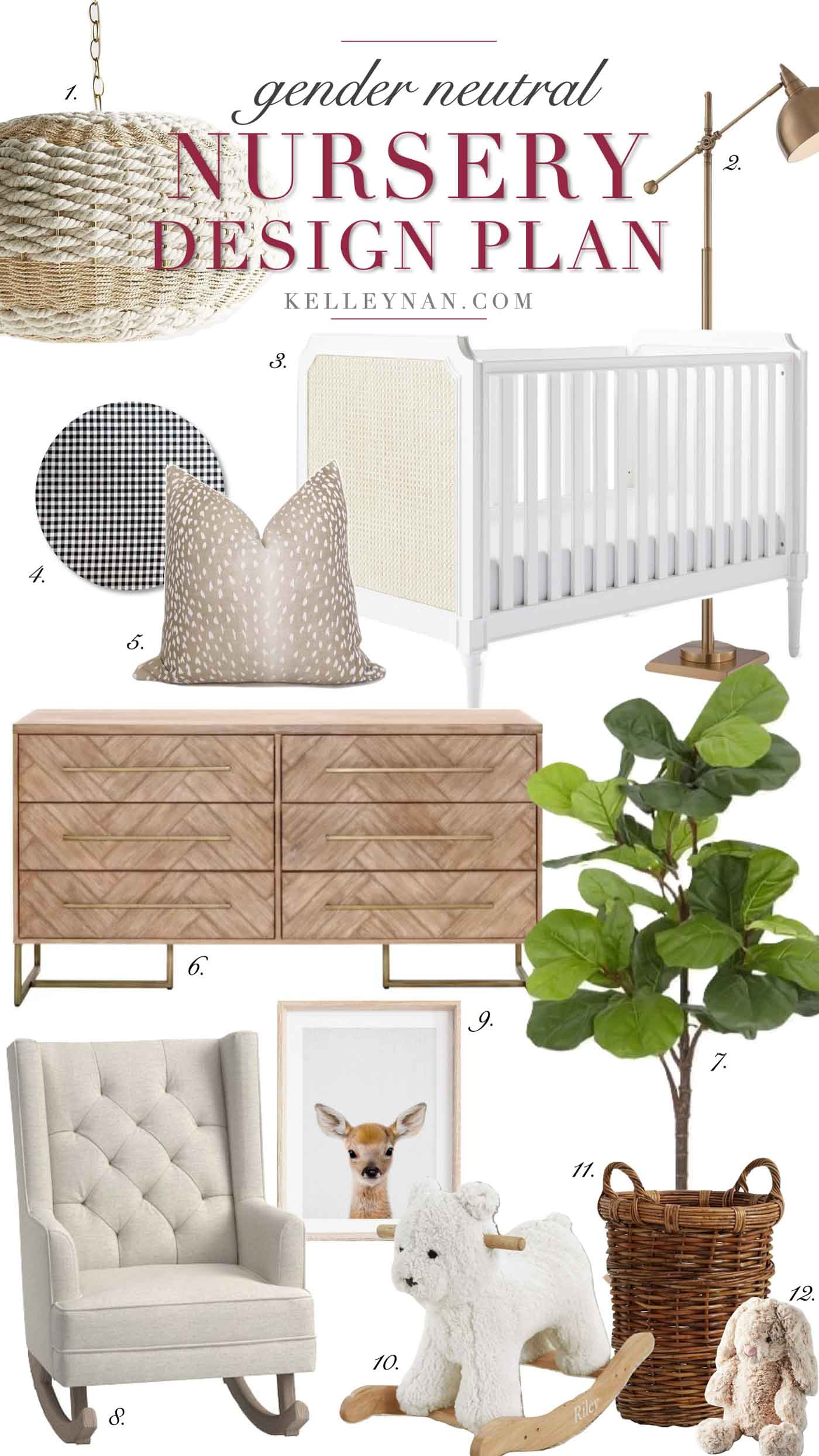 Gender Neutral Nursery Design and Decor with a white, gray, and natural color scheme and woodland animals