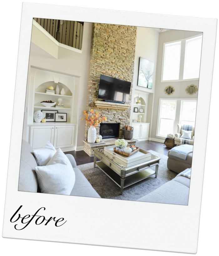 classic, neutral transitional living room makeover