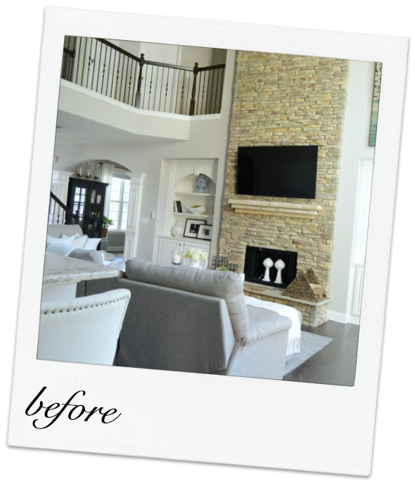 family room makeover with tall stone fireplace