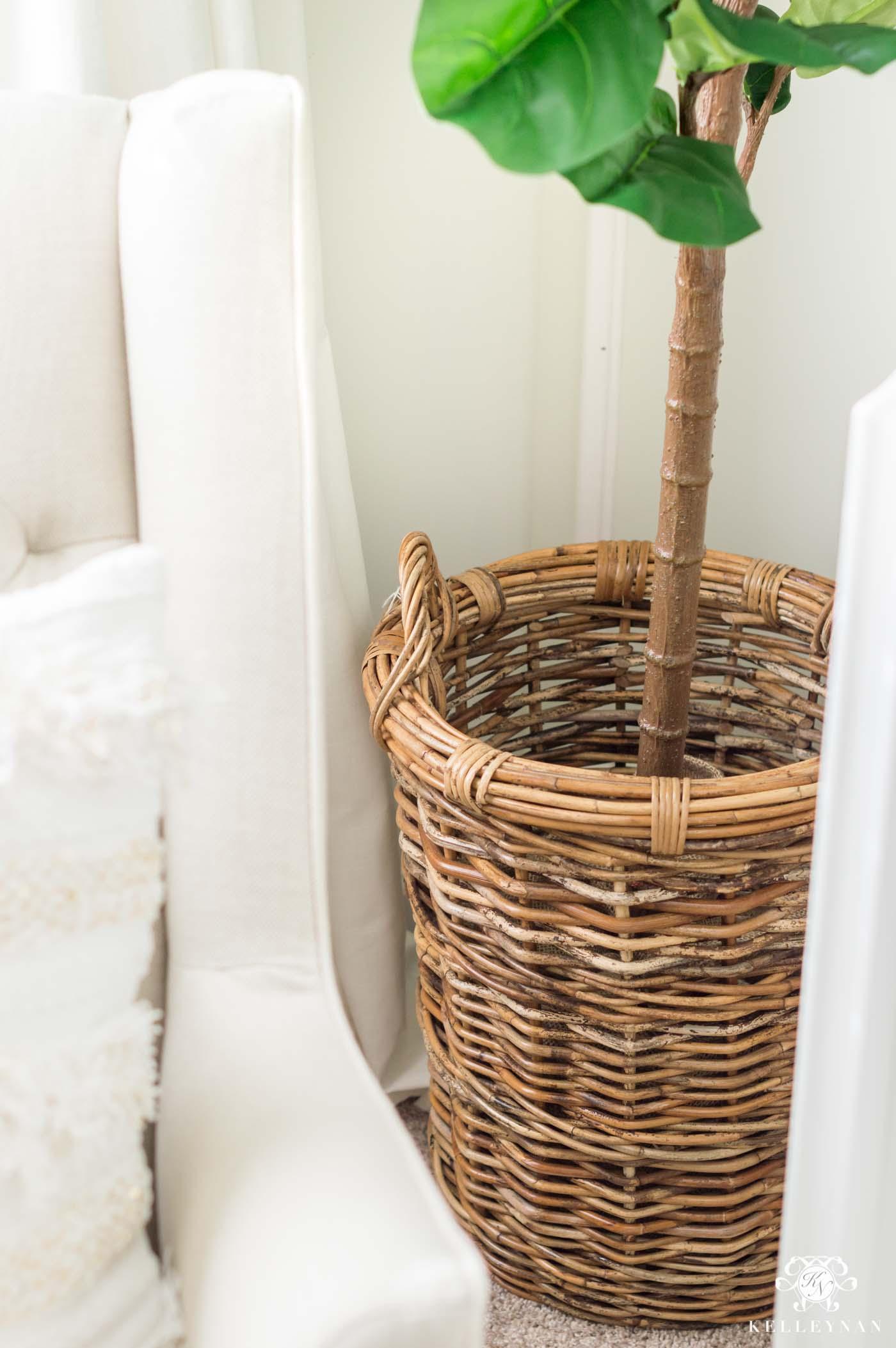 Basket hamper for faux fiddle leaf fig