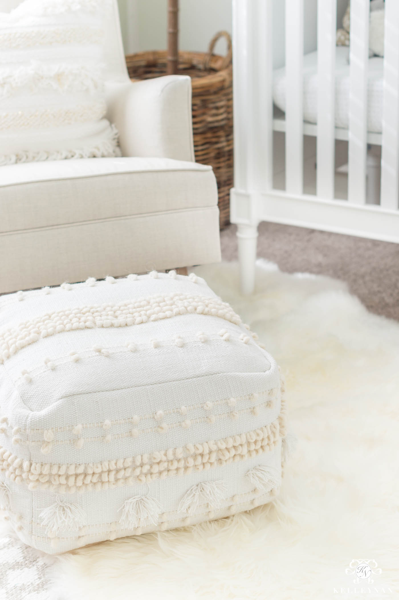 Boho neutral pouf for nursery rocking chair glider