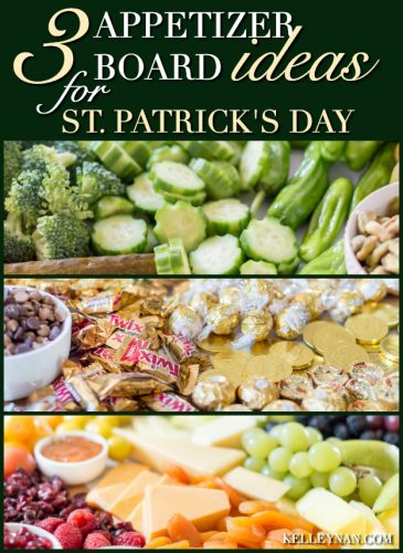 Three appetizer board ideas for St. Patrick's Day including fruit and cheese, all green vegetable, and gold candy!