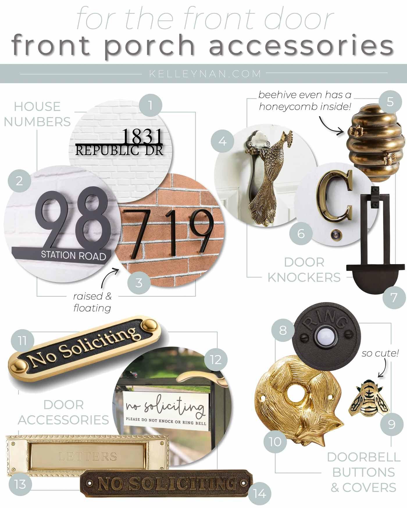 Pretty Front Door Accessories from House Numbers to Doorbells