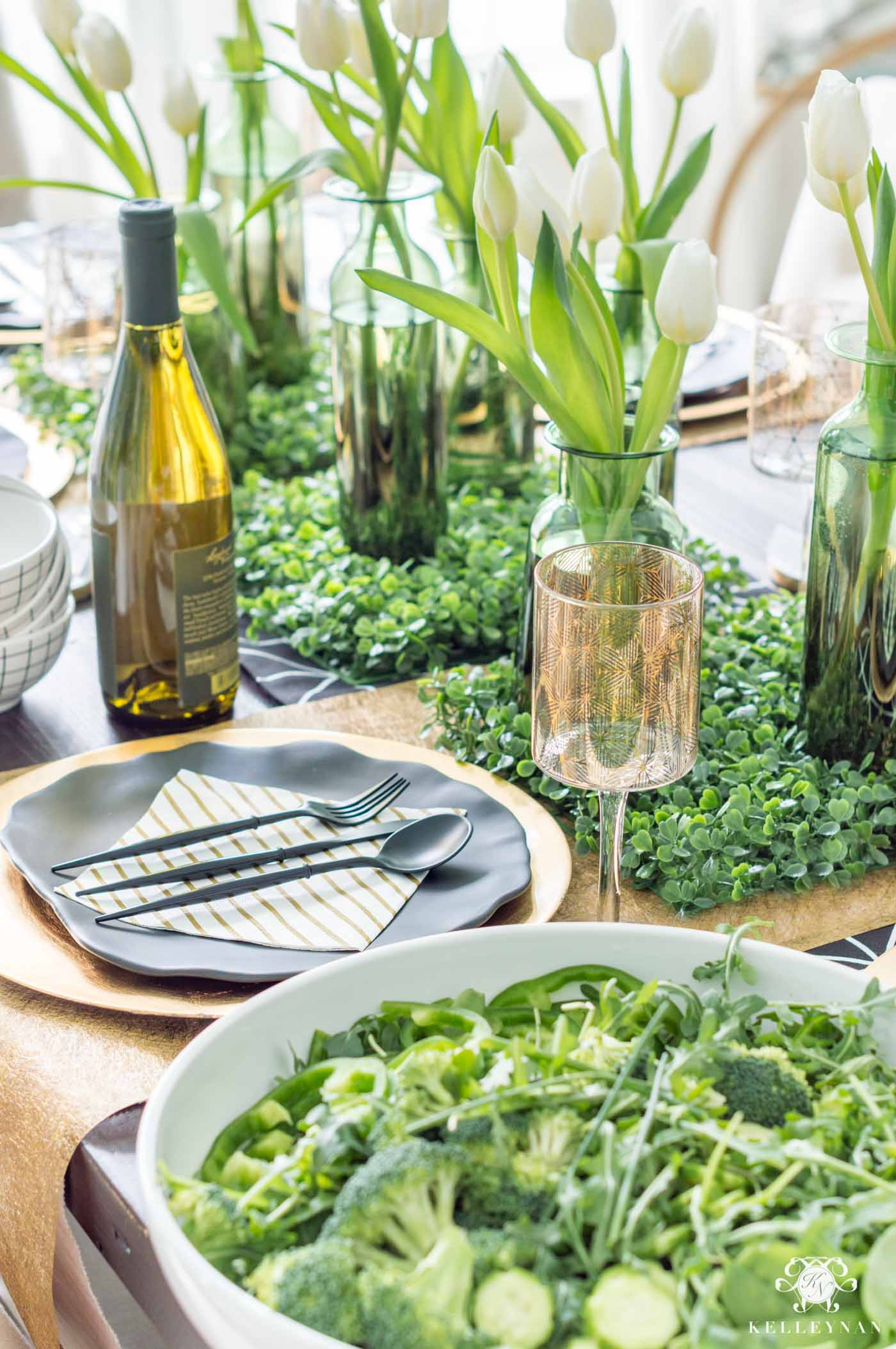 St. Patrick's Day Table Decor with Green Shamrock Centerpiece