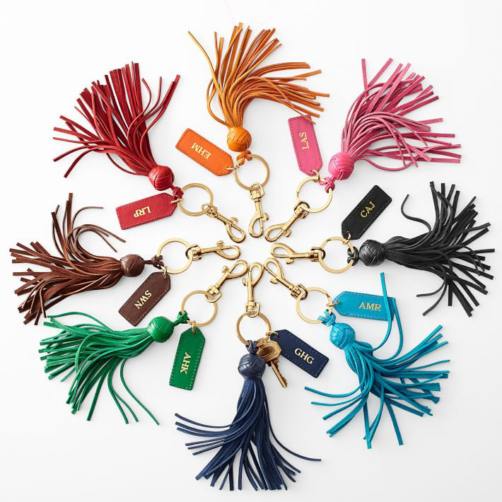 monogrammed colorful keychains as a hostess gift idea