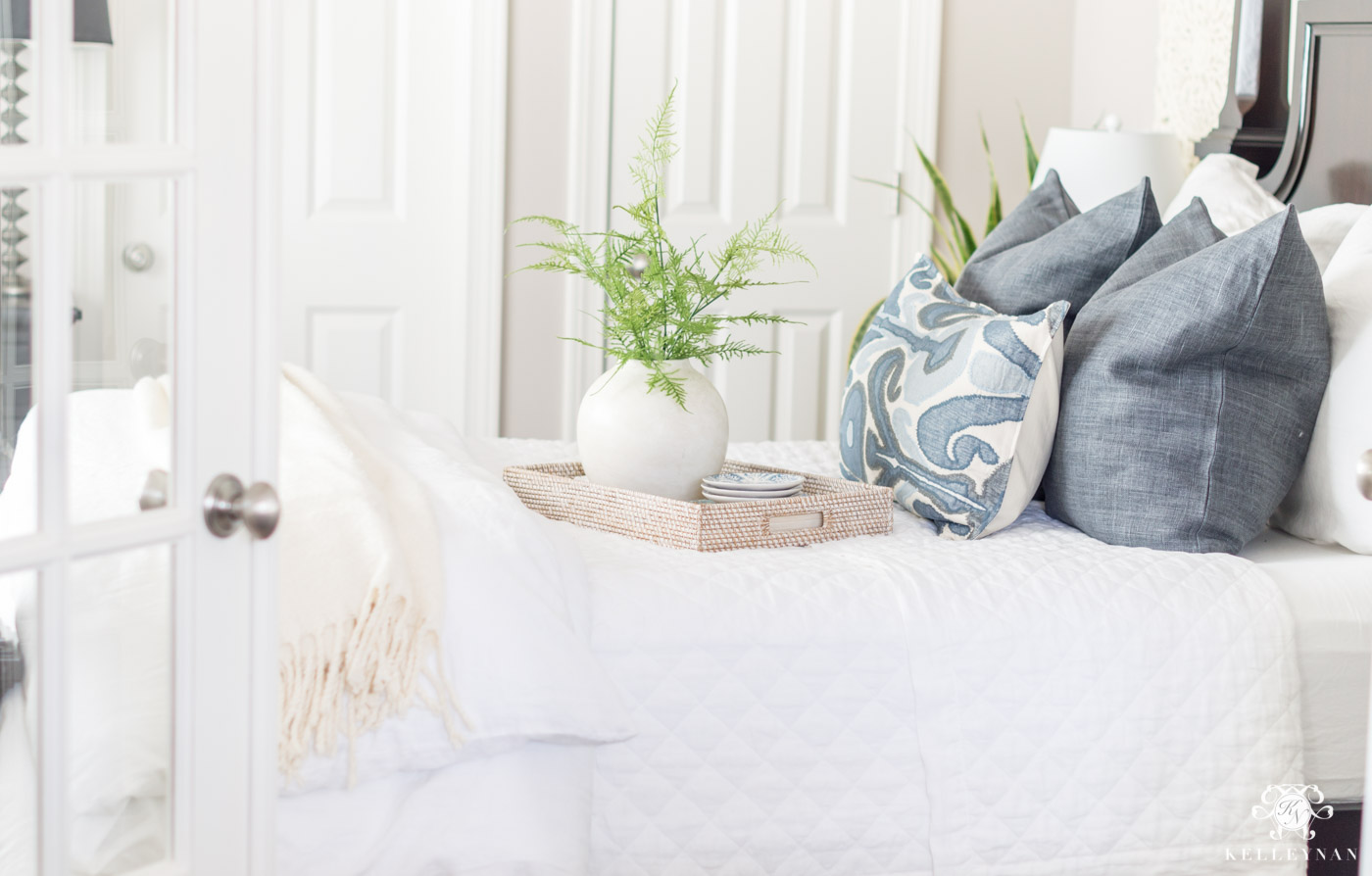 Blue and white guest bedroom neutral bedding