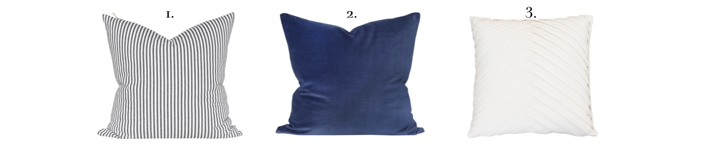blue black and white pillow combo
