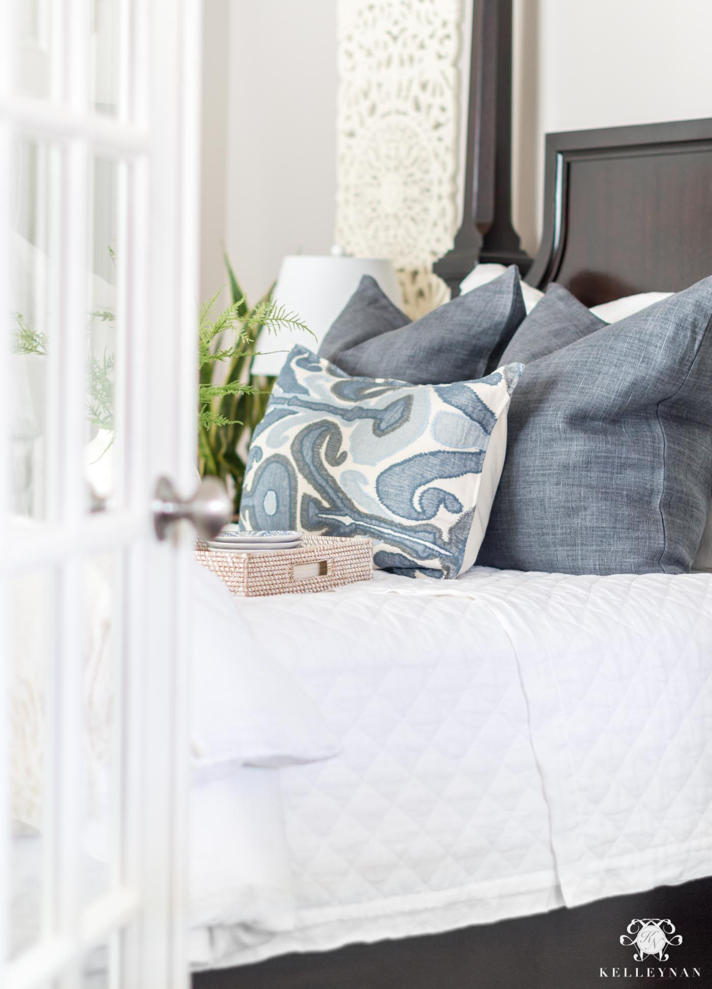 Classic blue and white guest bedroom decor