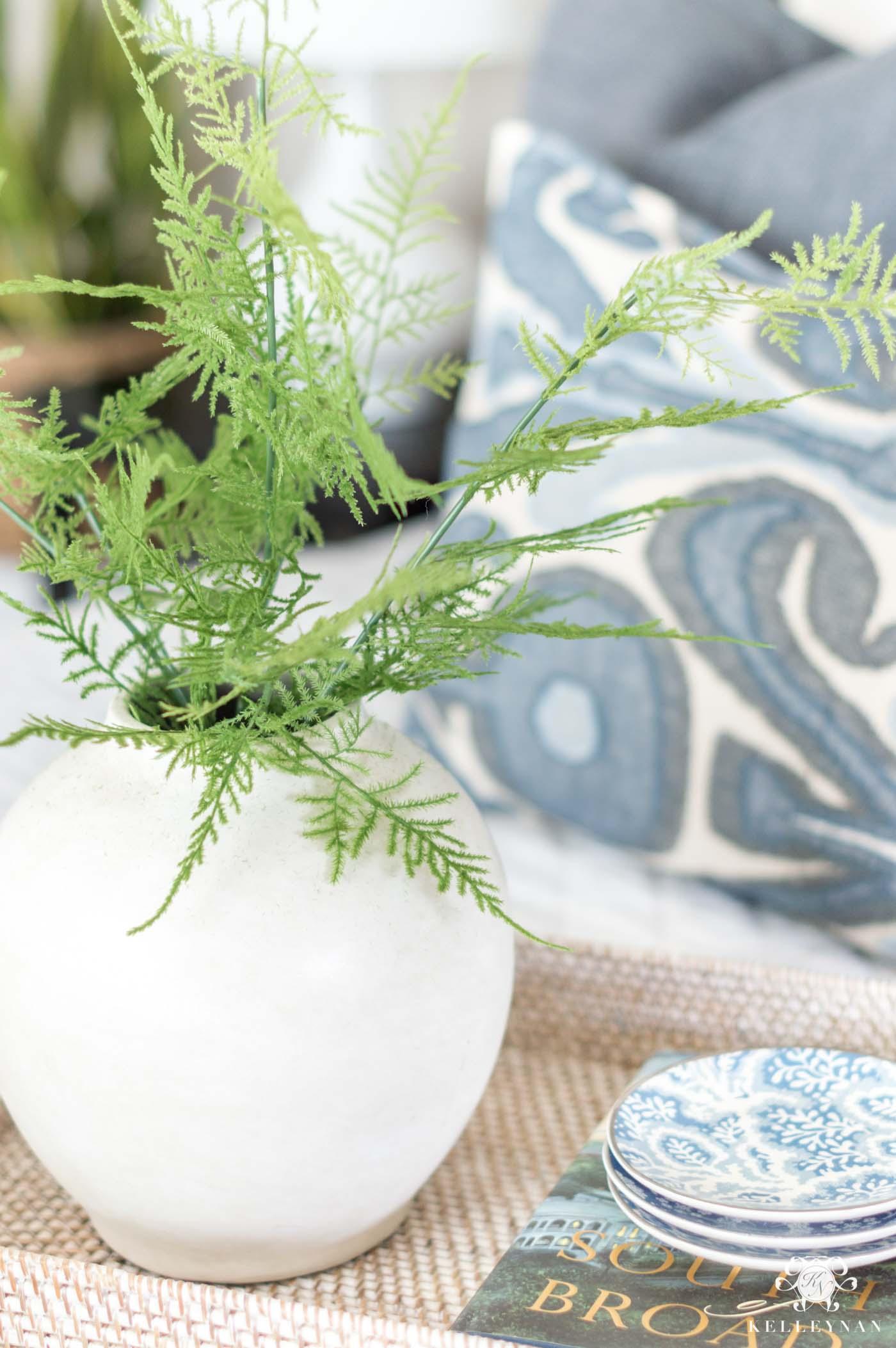 Best faux florals - a vase of asparagus fern stems