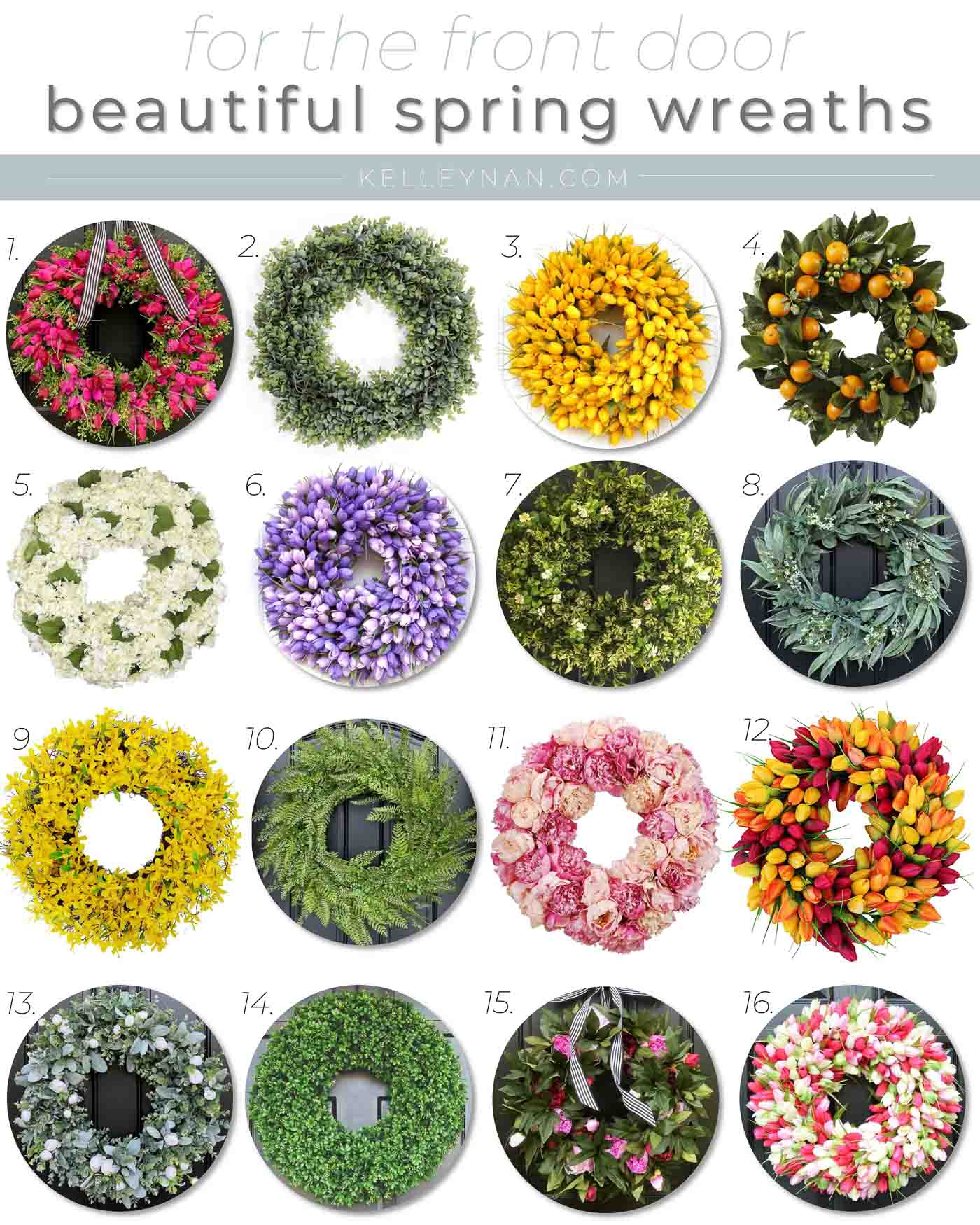 16 Beautiful Spring Wreaths for the Front Door