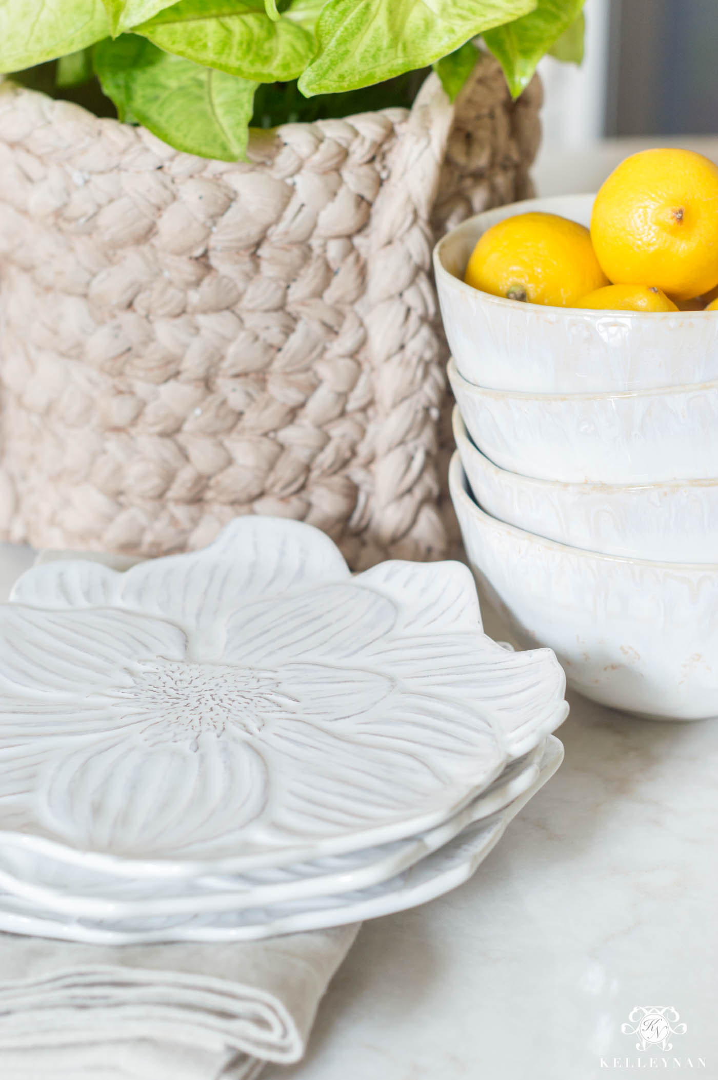 Floral plates and other pretty kitchen island decor