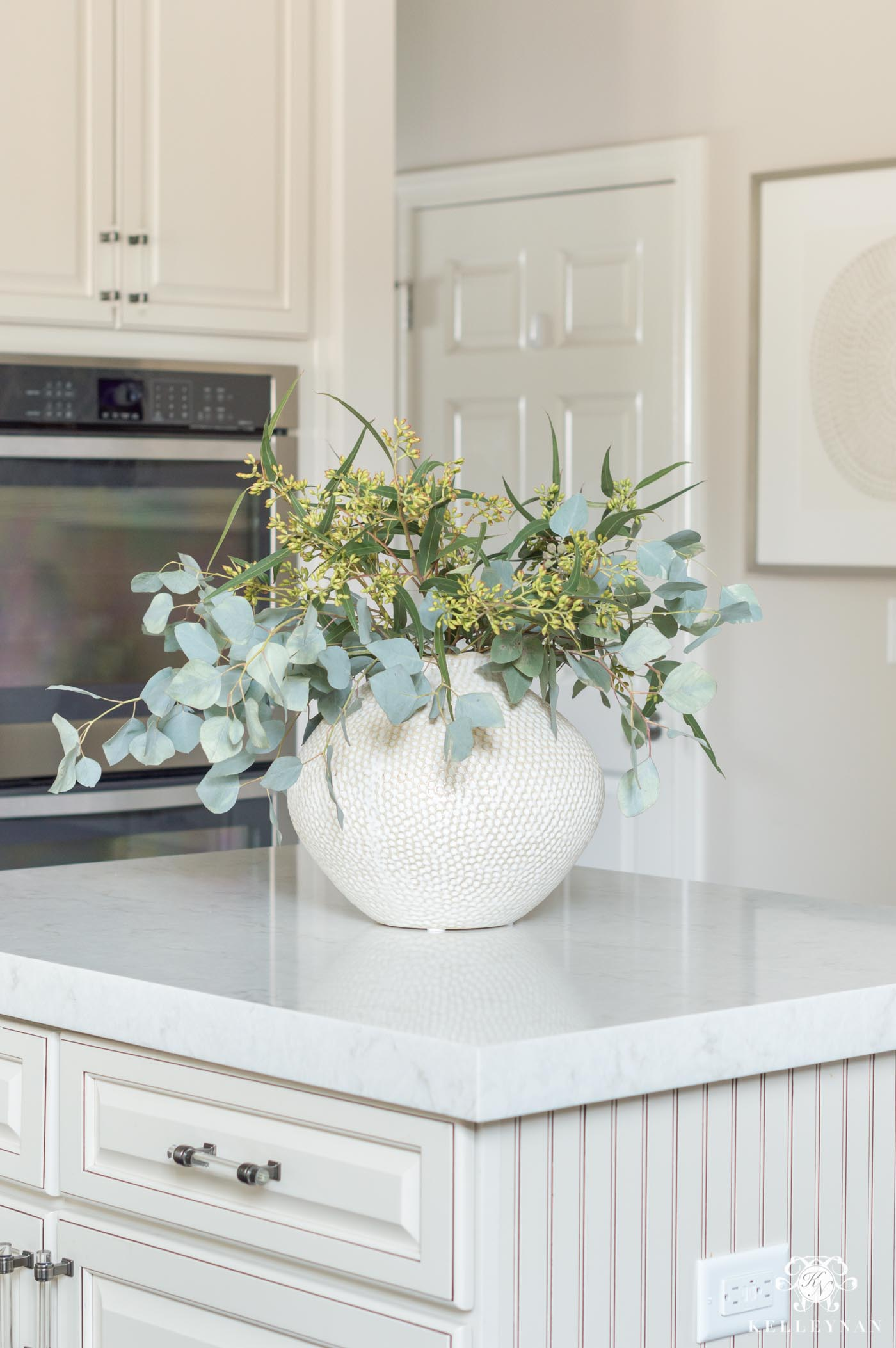 Kitchen island centerpiece of eucalyptus and other ideas