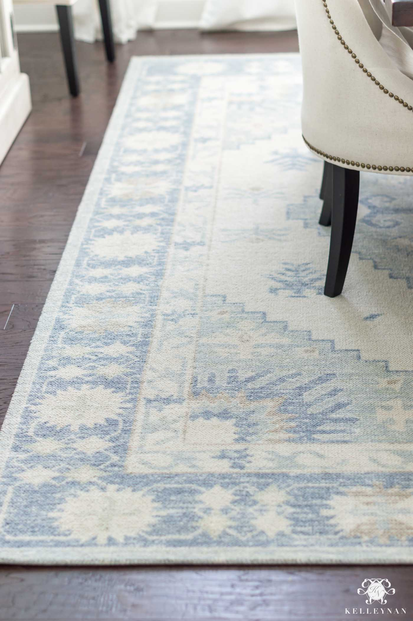 pretty blue turkish dining room rug