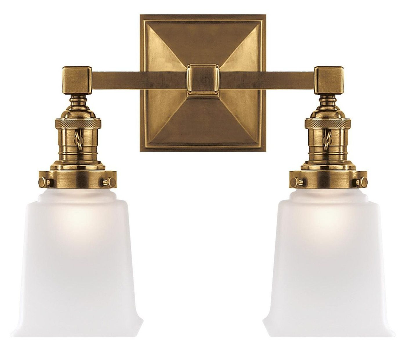 elegant double brass bathroom sconce