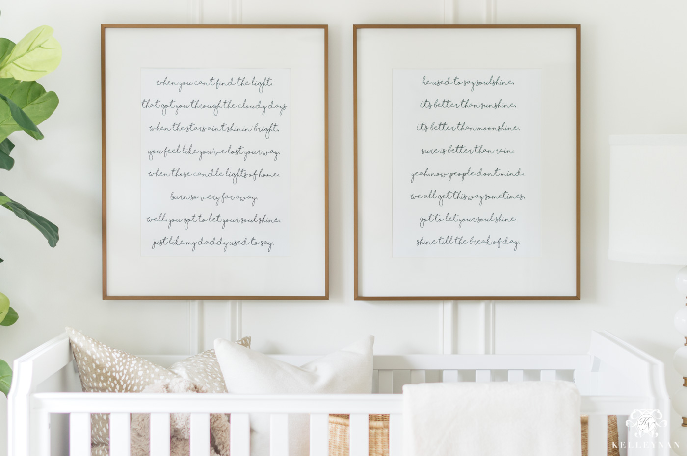 Soulshine framed lyrics above nursery crib