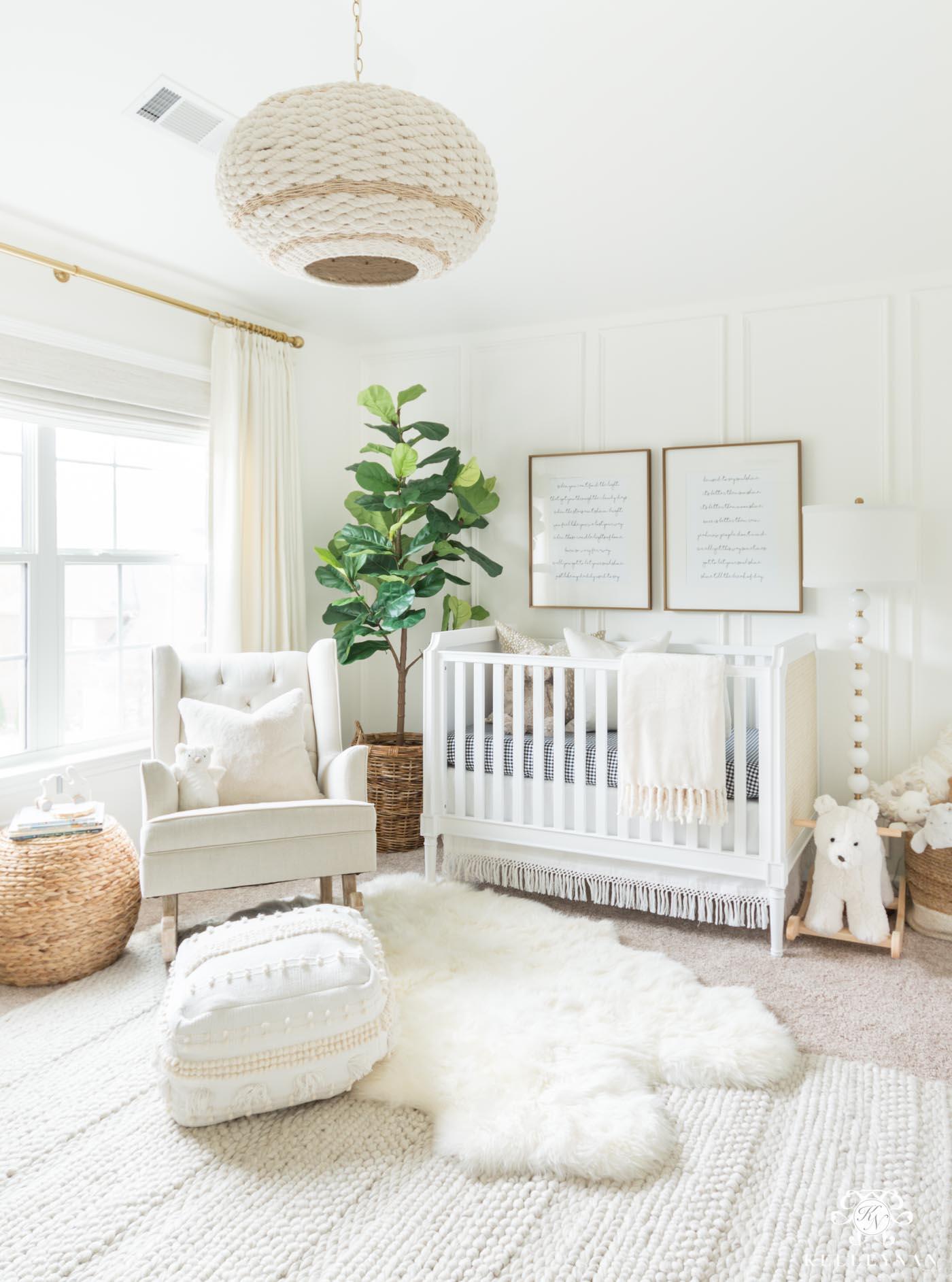 Modern bohemian neutral nursery decor and design ideas