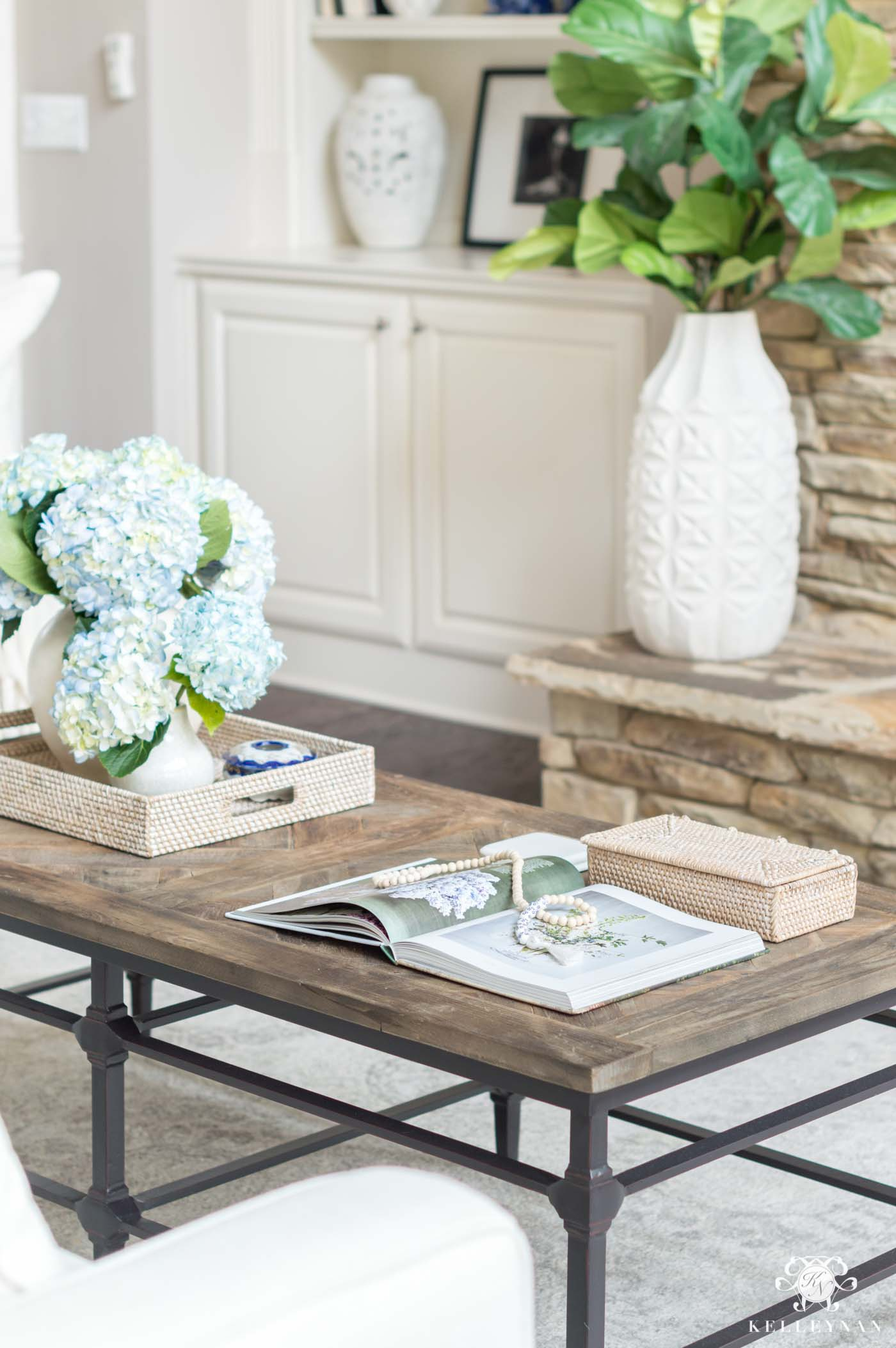 Coffee table styling and decor in the living room