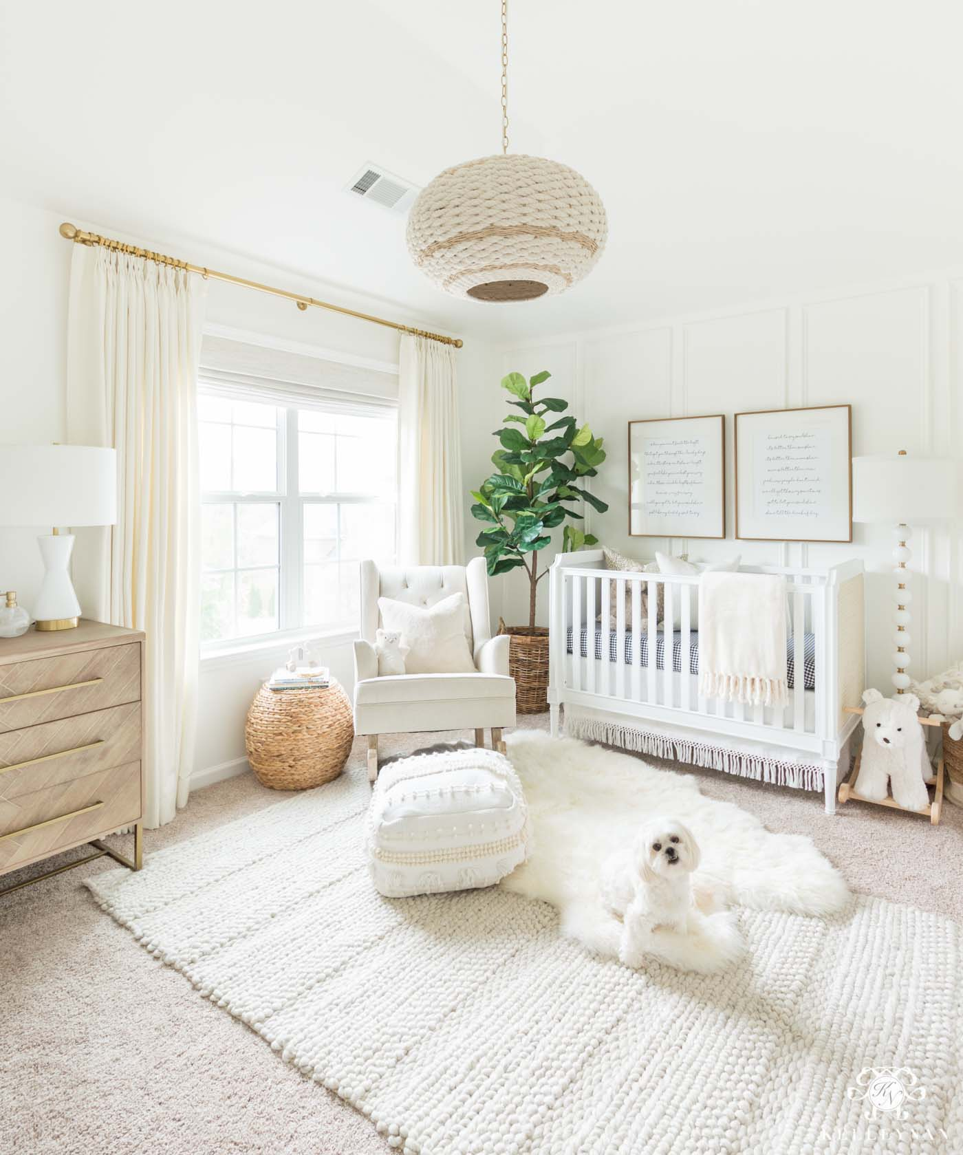 Boho white gender neutral nursery with tons of texture