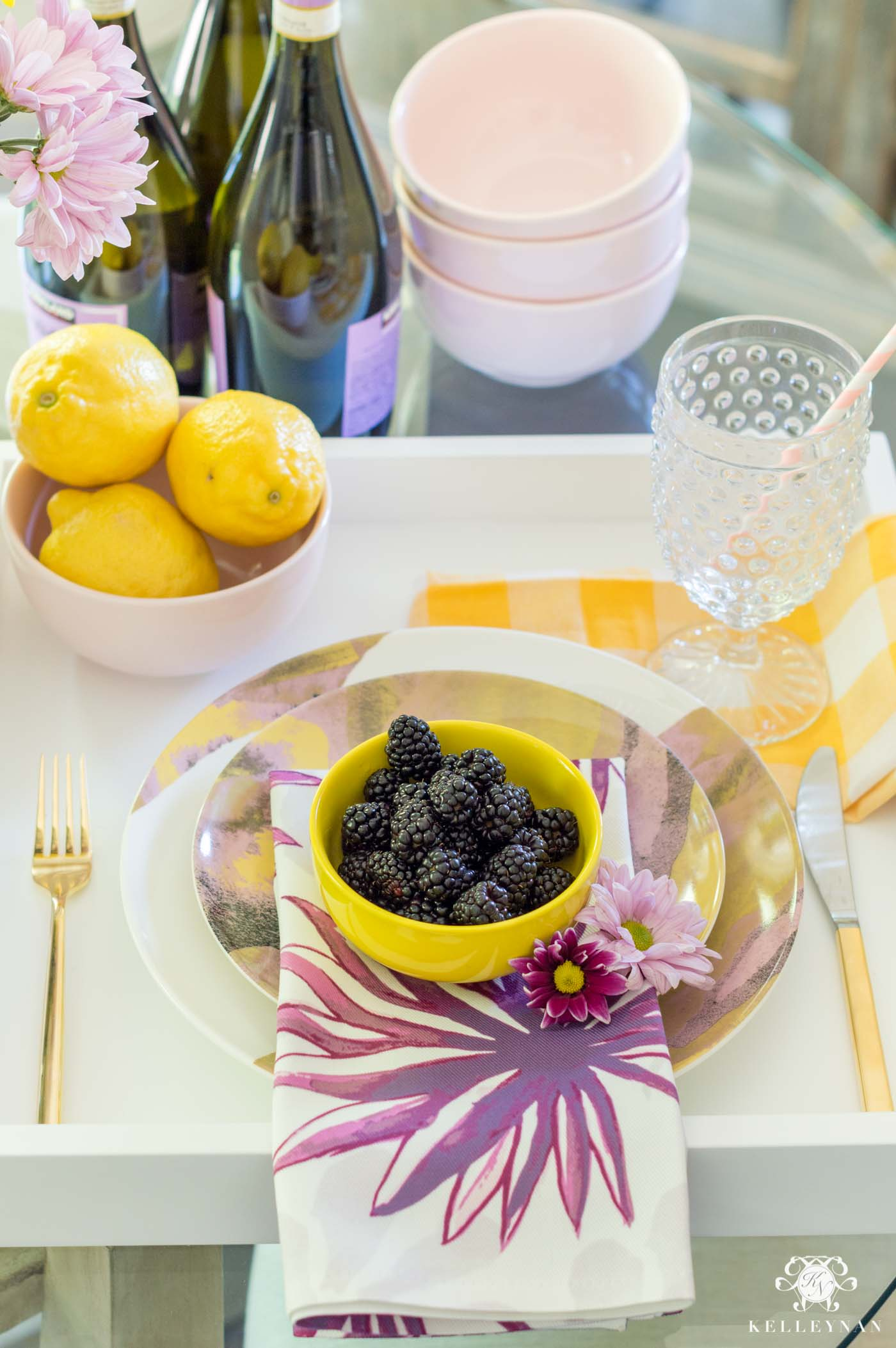 Drew Barrymore Flower Line Favorites- yellow and purple party favorites