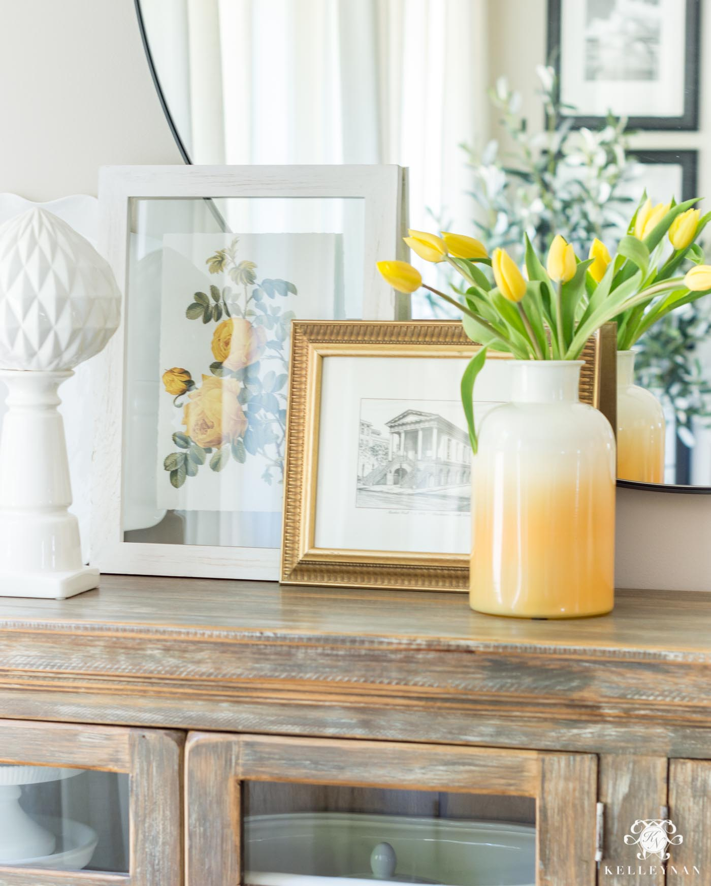Drew Barrymore Flower Line Favorites- how to style a summer sideboard