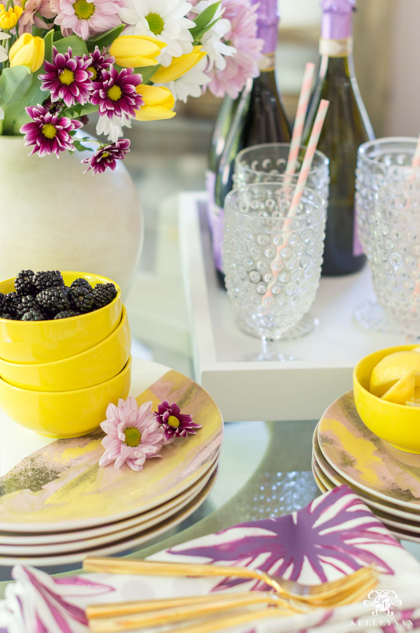 Purple and yellow flower and lemon entertaining for summer