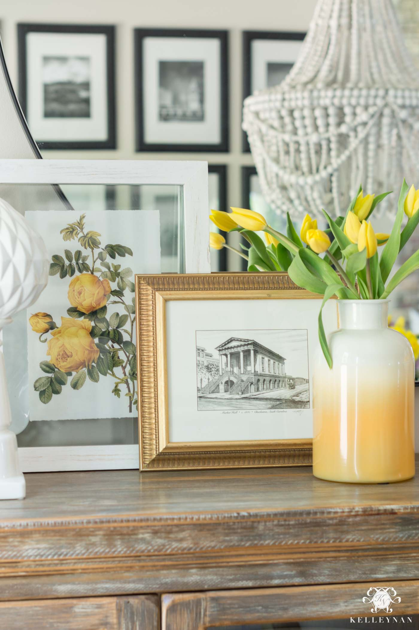Drew Barrymore Collection Favorites- yellow art prints and vases for table styling