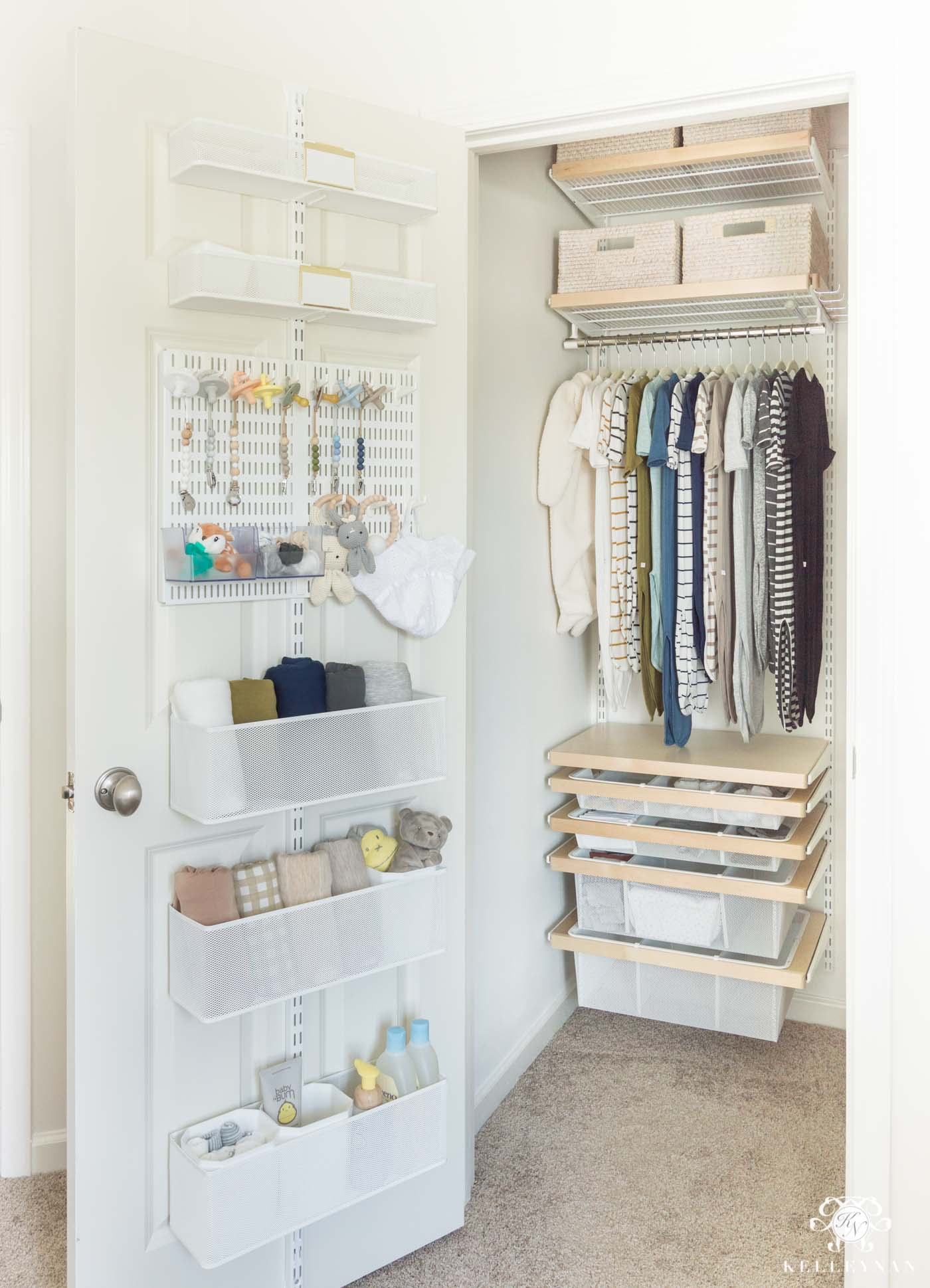 Organized nursery closet with an easy Elfa System