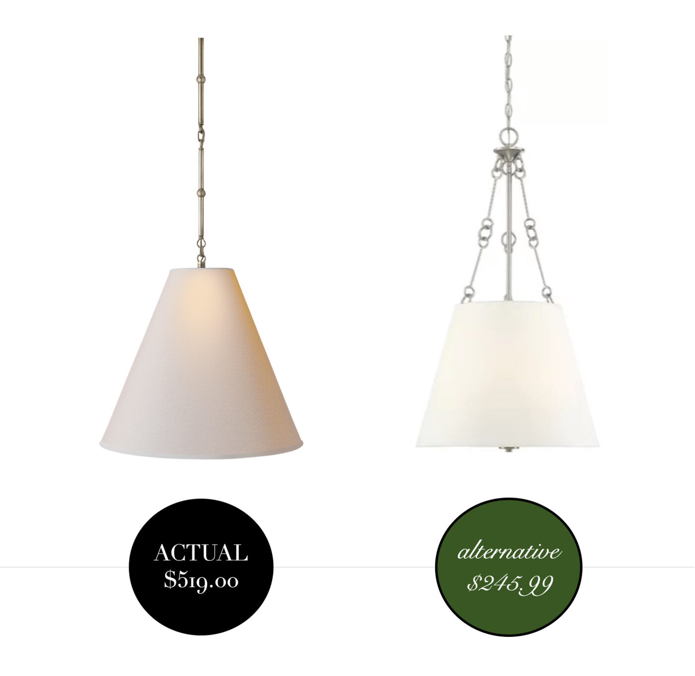Designer Lighting Dupes- how to get the look for less