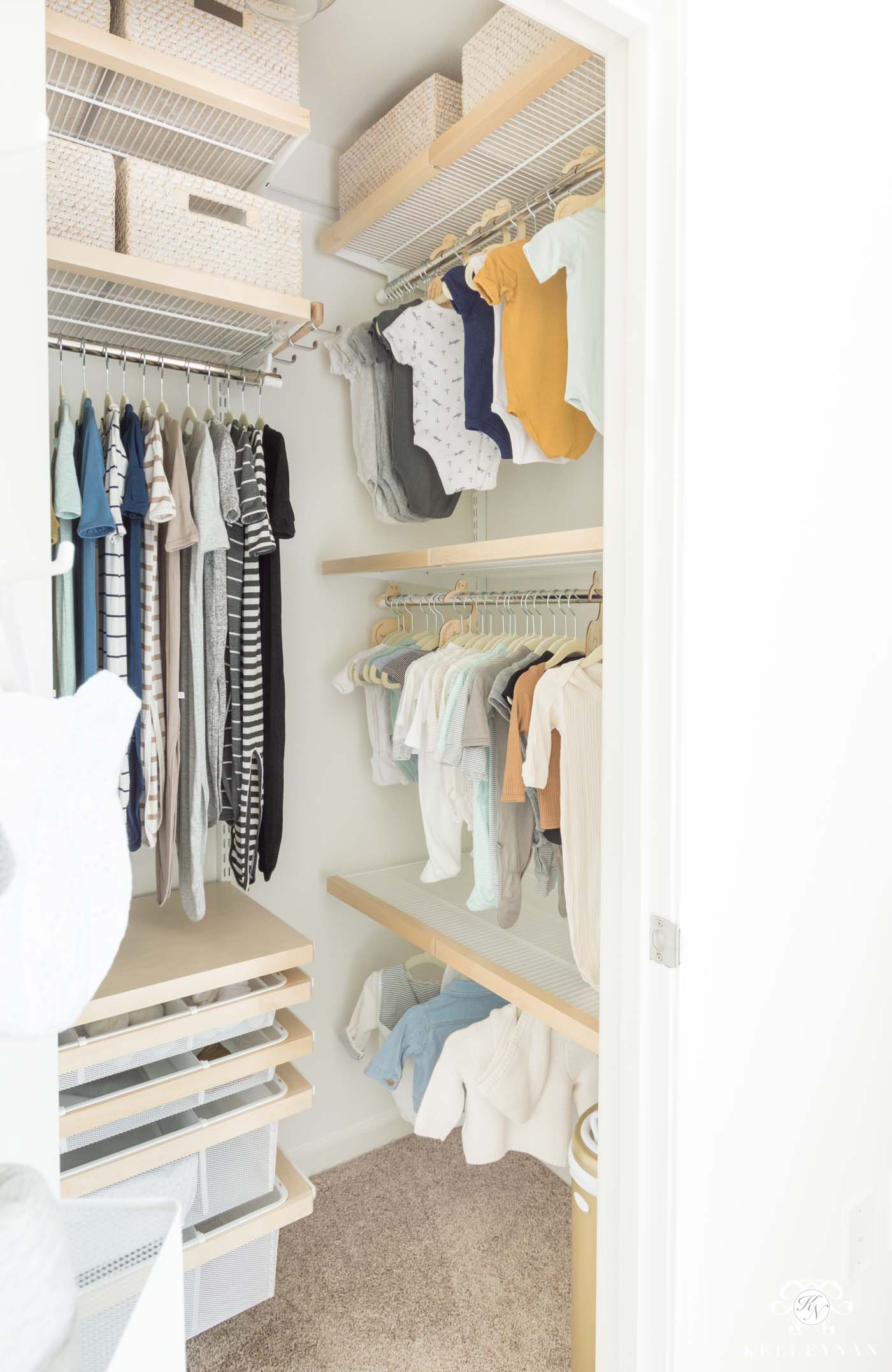 How to organize a baby nursery closet