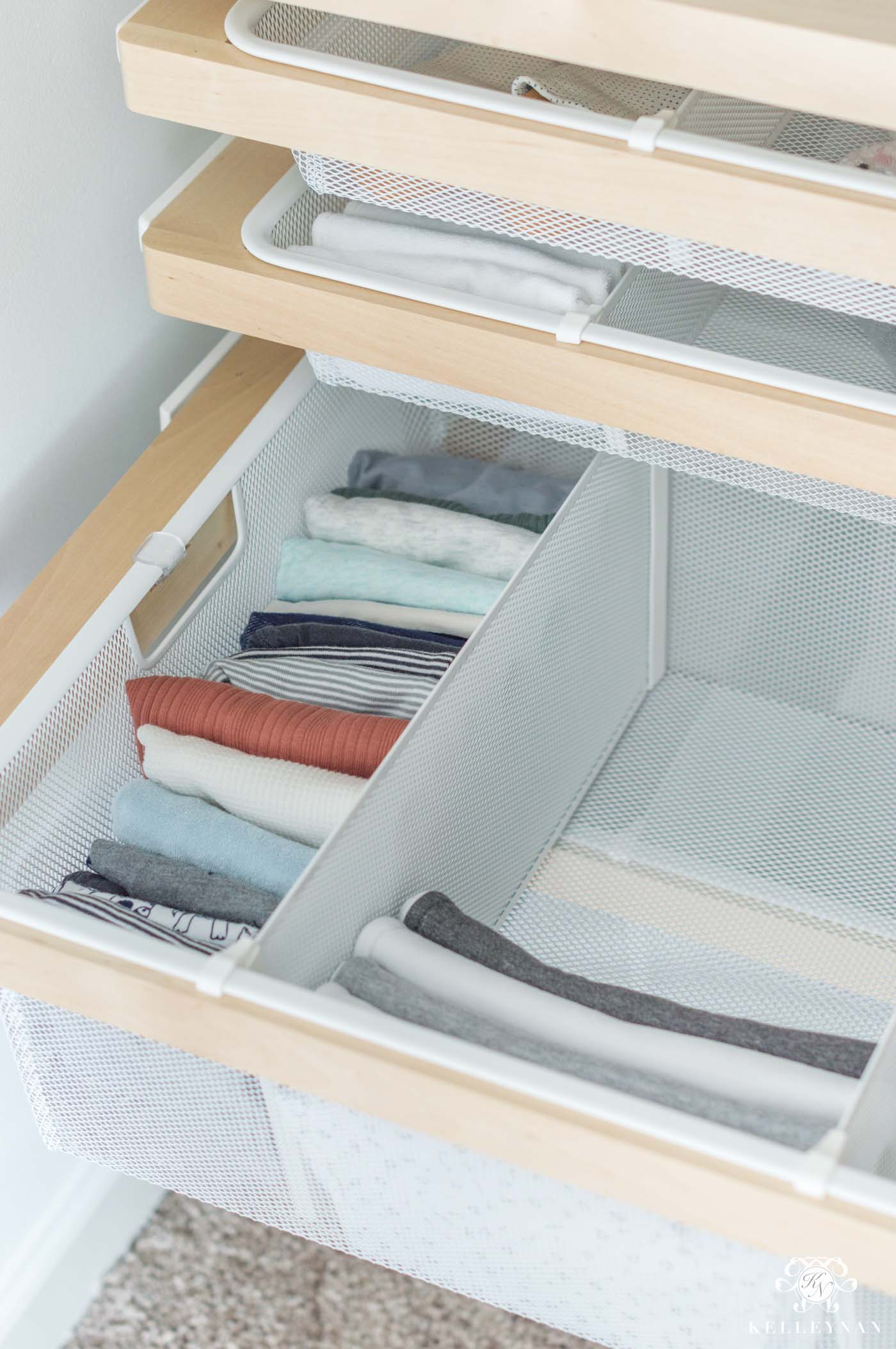 Elfa drawers for baby and kids closets