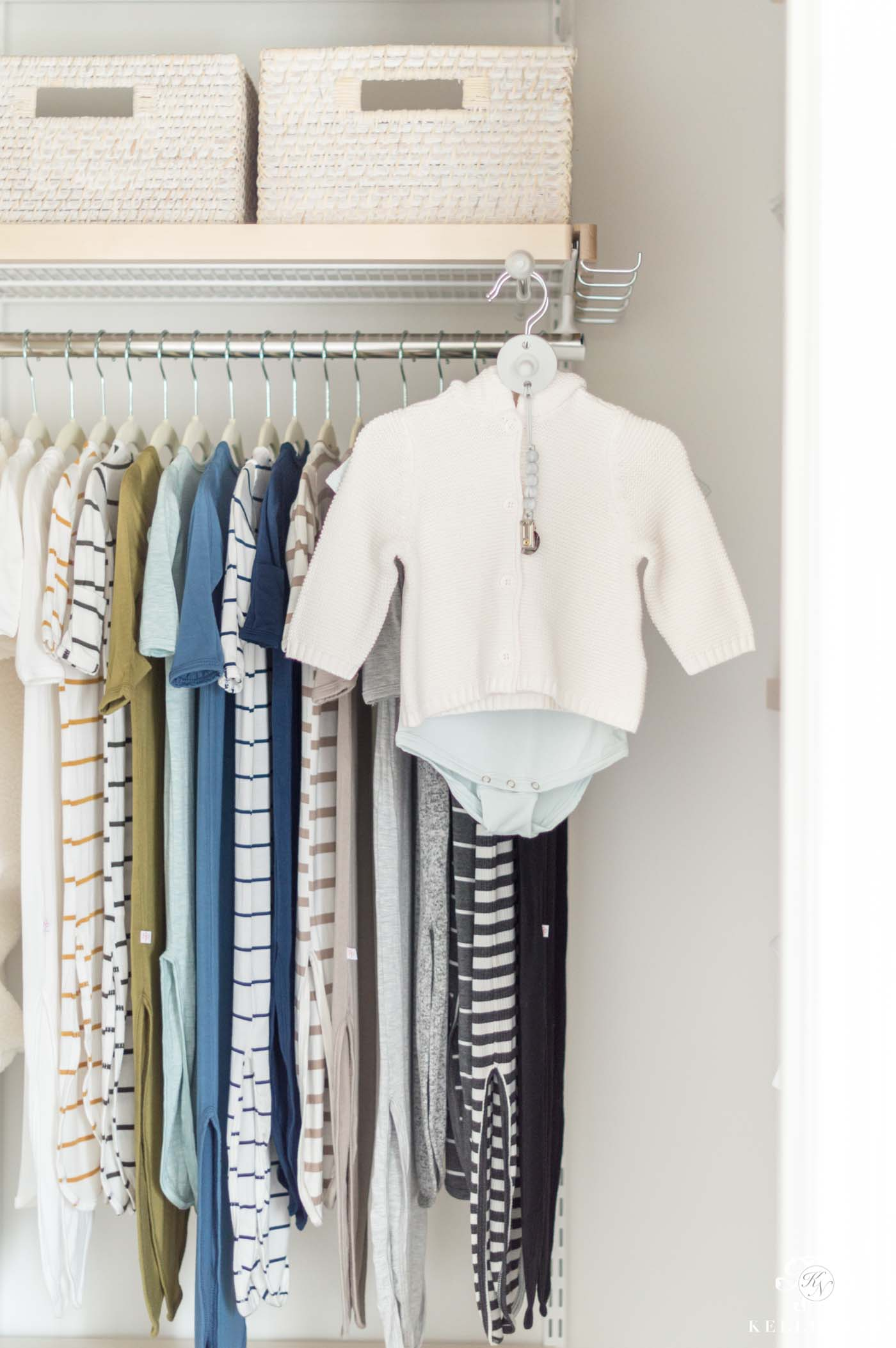 Organization accessories for a baby closet