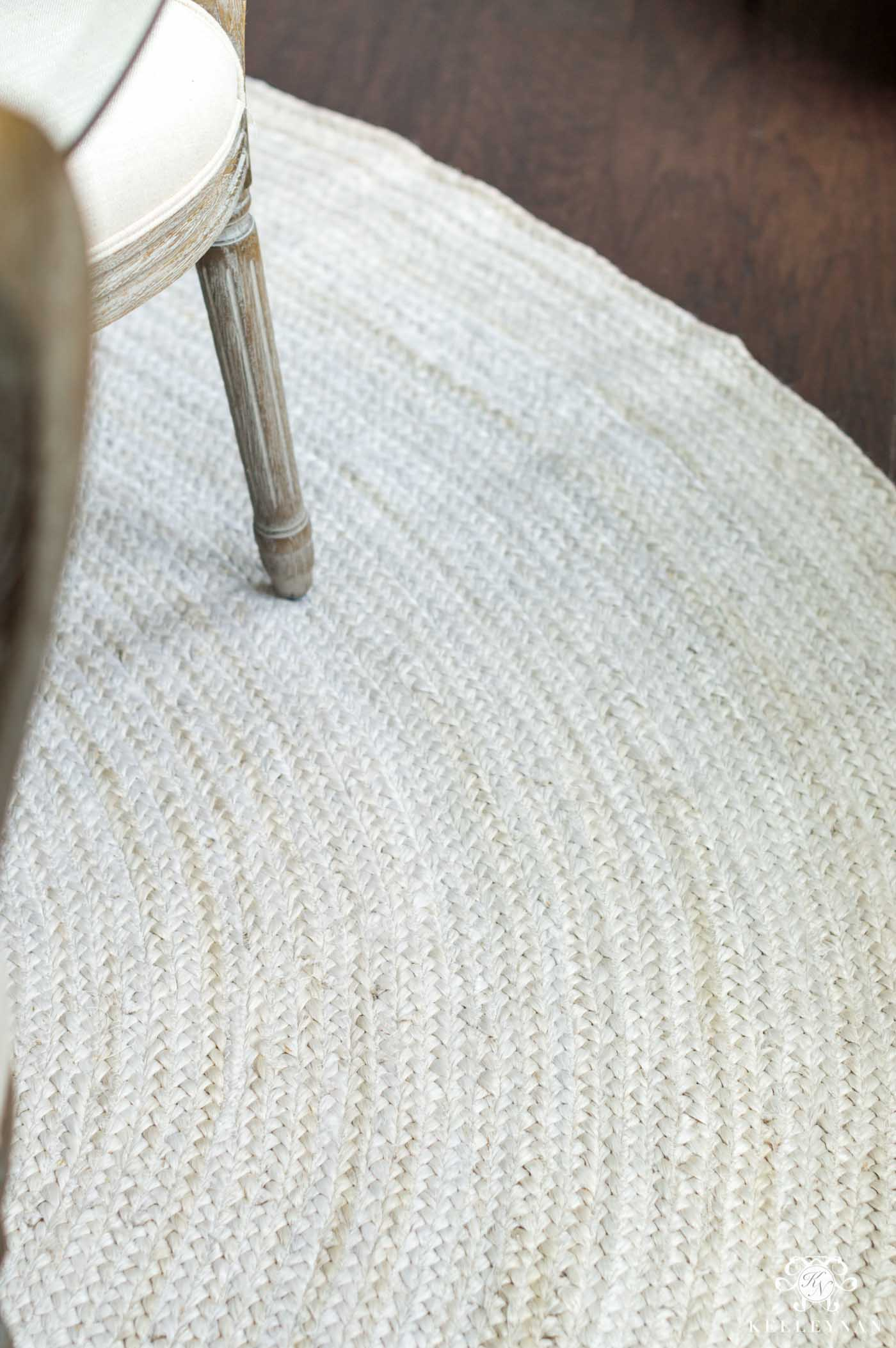 Inexpensive cream jute rug and others that are great for families and pets