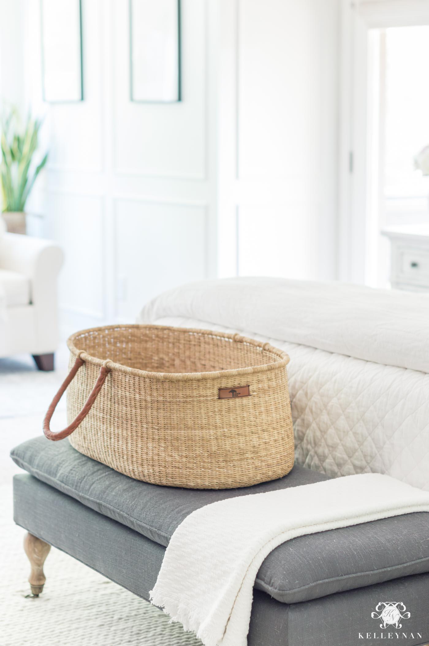 Pretty woven baby bassinet basket