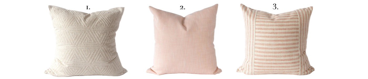 Blush pink pillow layout and configuration for a king bed